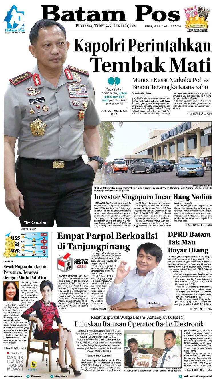 Koran Digital Batam Pos 27 Juli 2017