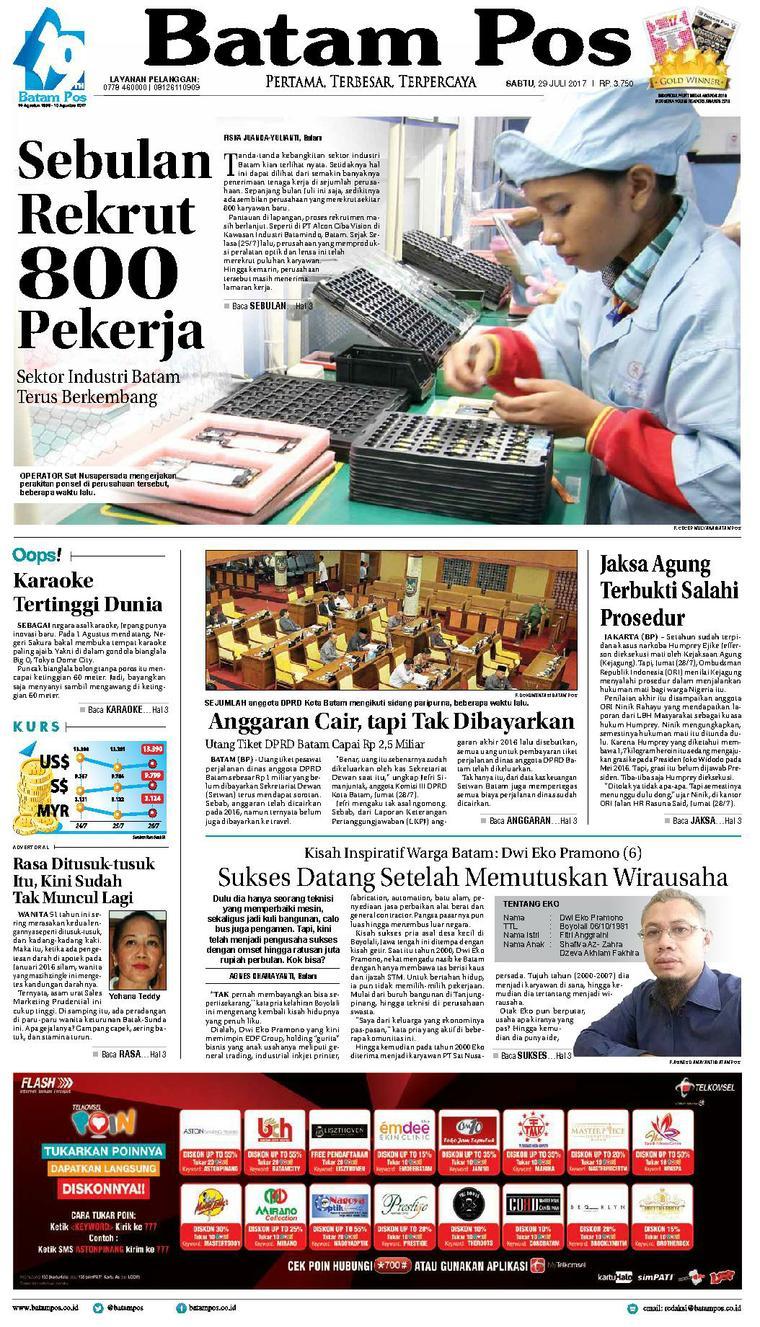 Koran Digital Batam Pos 29 Juli 2017