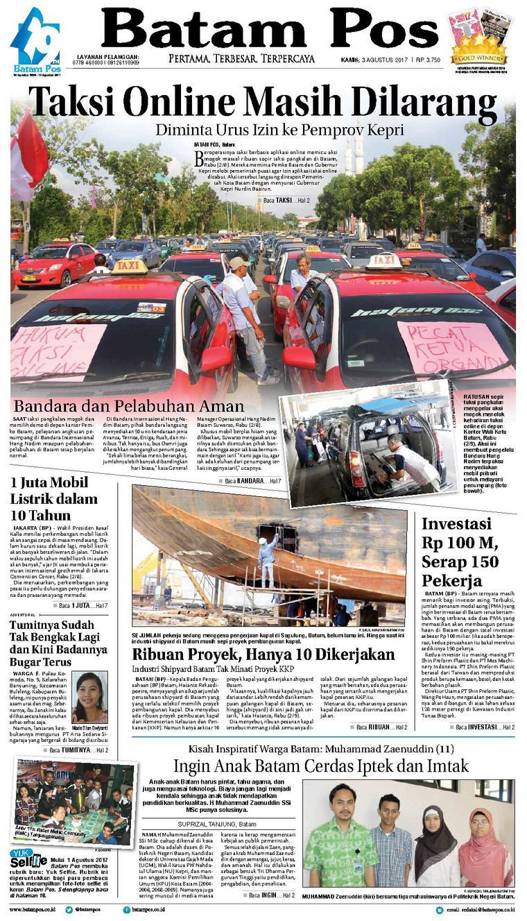 Batam Pos Digital Newspaper 03 August 2017
