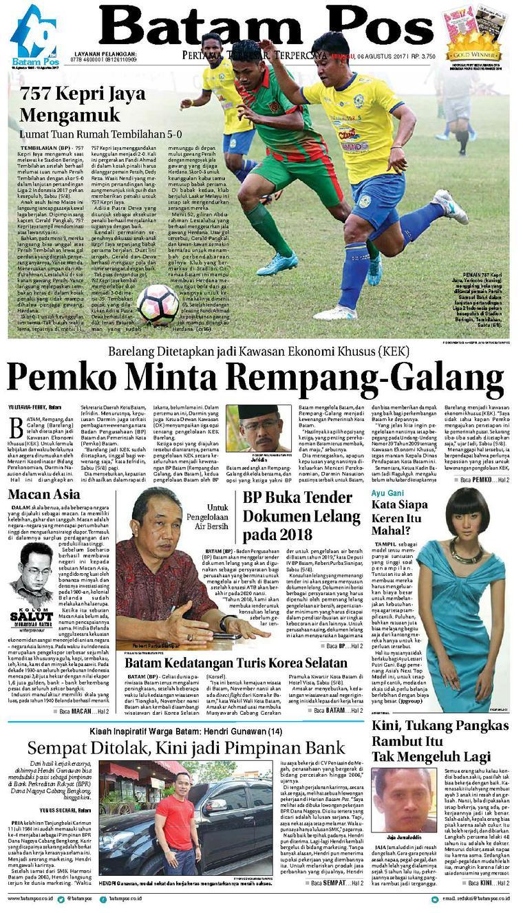 Koran Digital Batam Pos 06 Agustus 2017