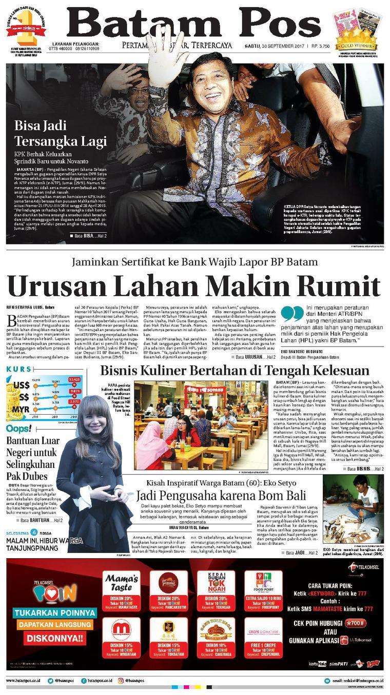 Koran Digital Batam Pos 30 September 2017