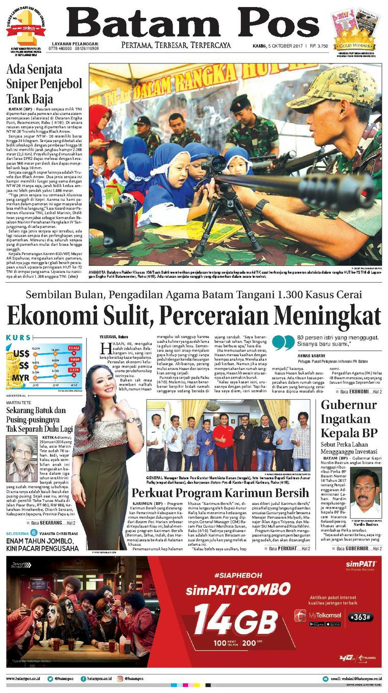Koran Digital Batam Pos 05 Oktober 2017