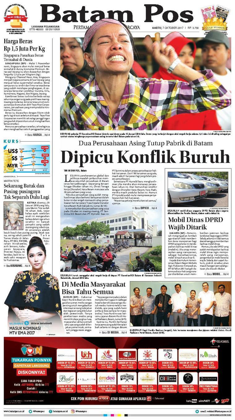 Koran Digital Batam Pos 07 Oktober 2017