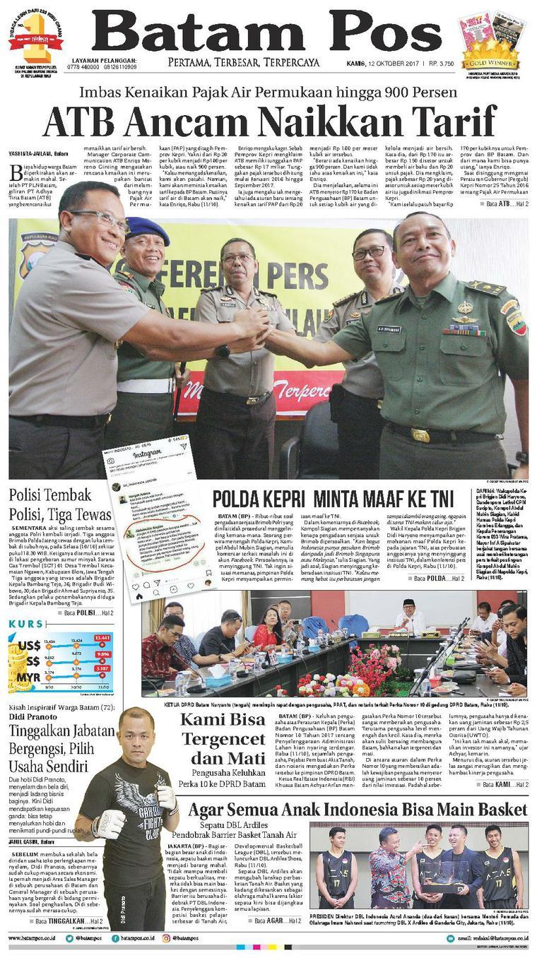 Koran Digital Batam Pos 12 Oktober 2017