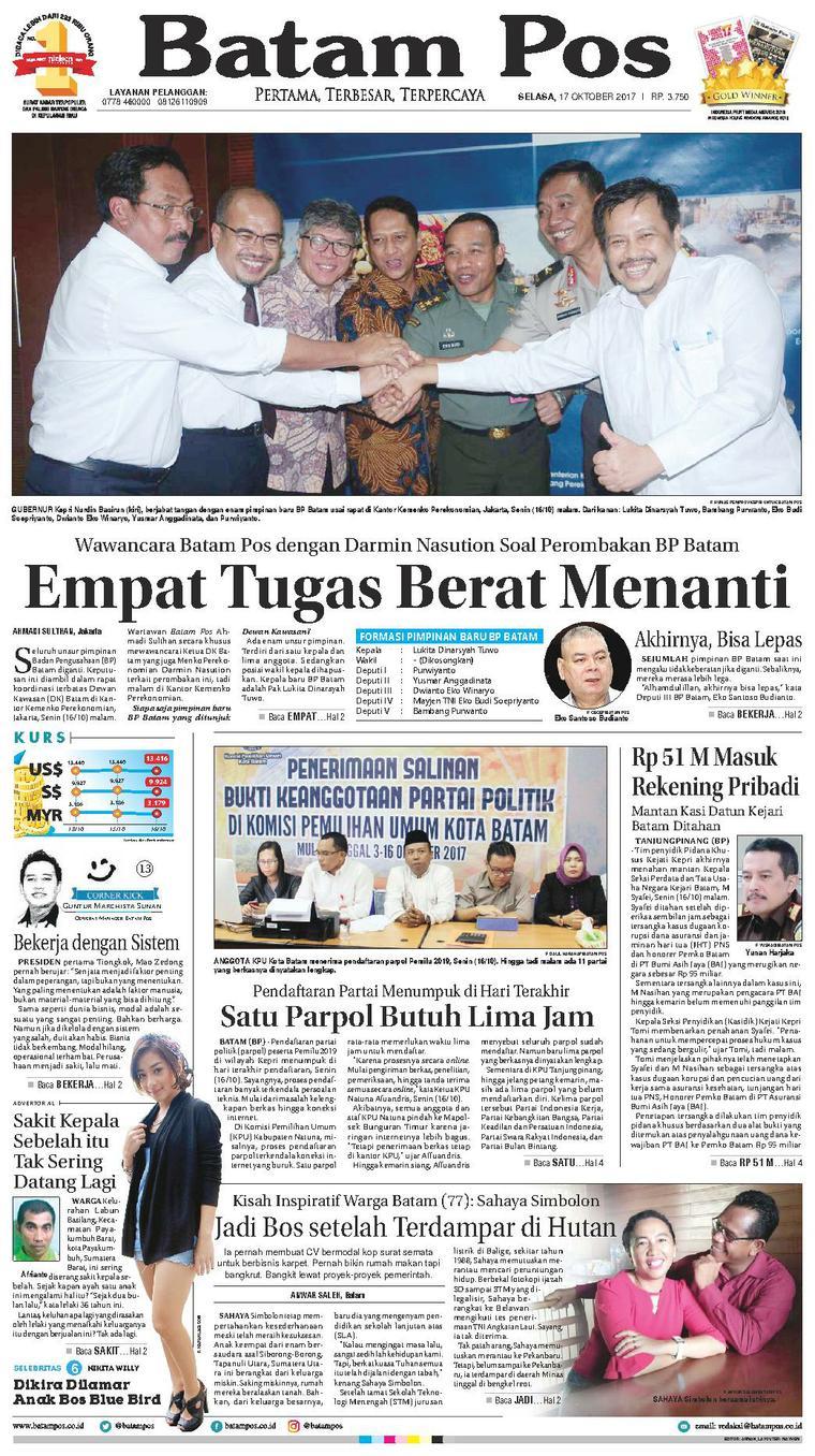 Koran Digital Batam Pos 17 Oktober 2017
