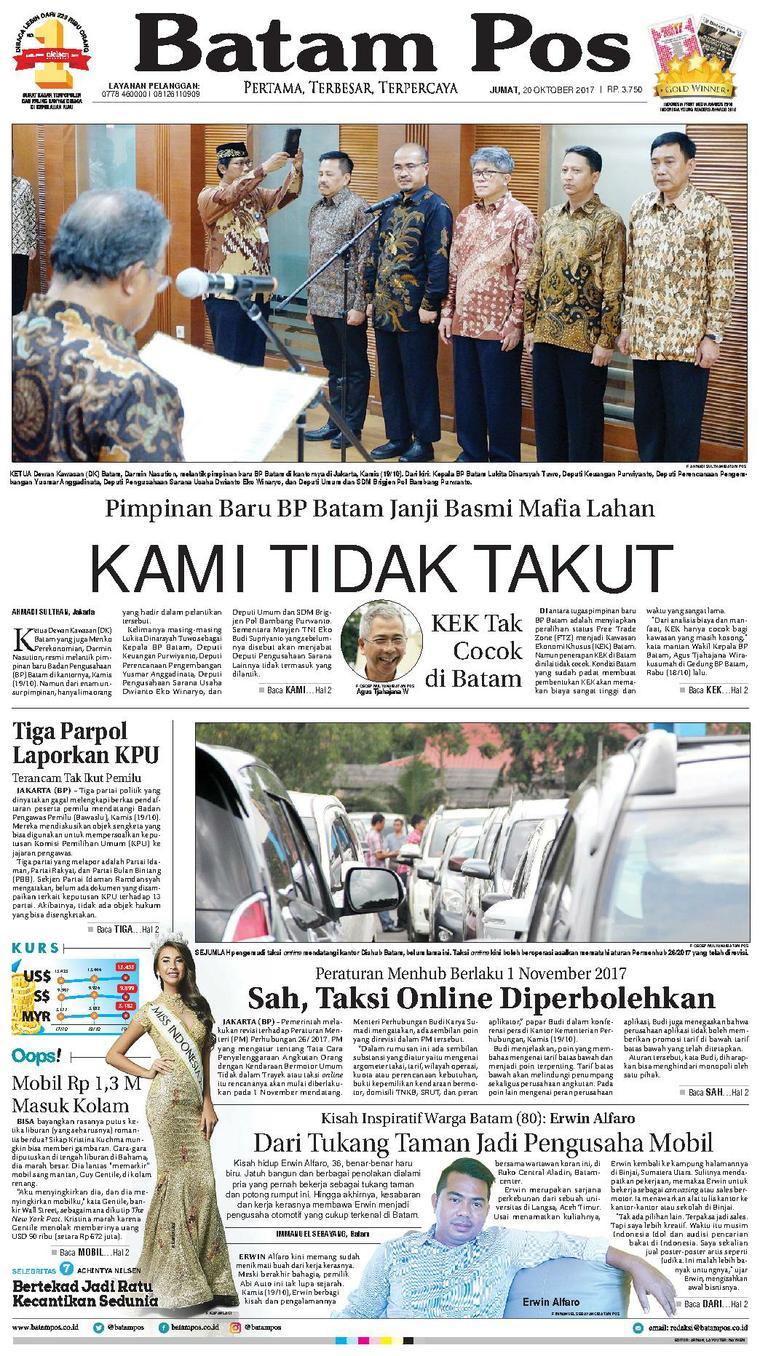 Koran Digital Batam Pos 20 Oktober 2017