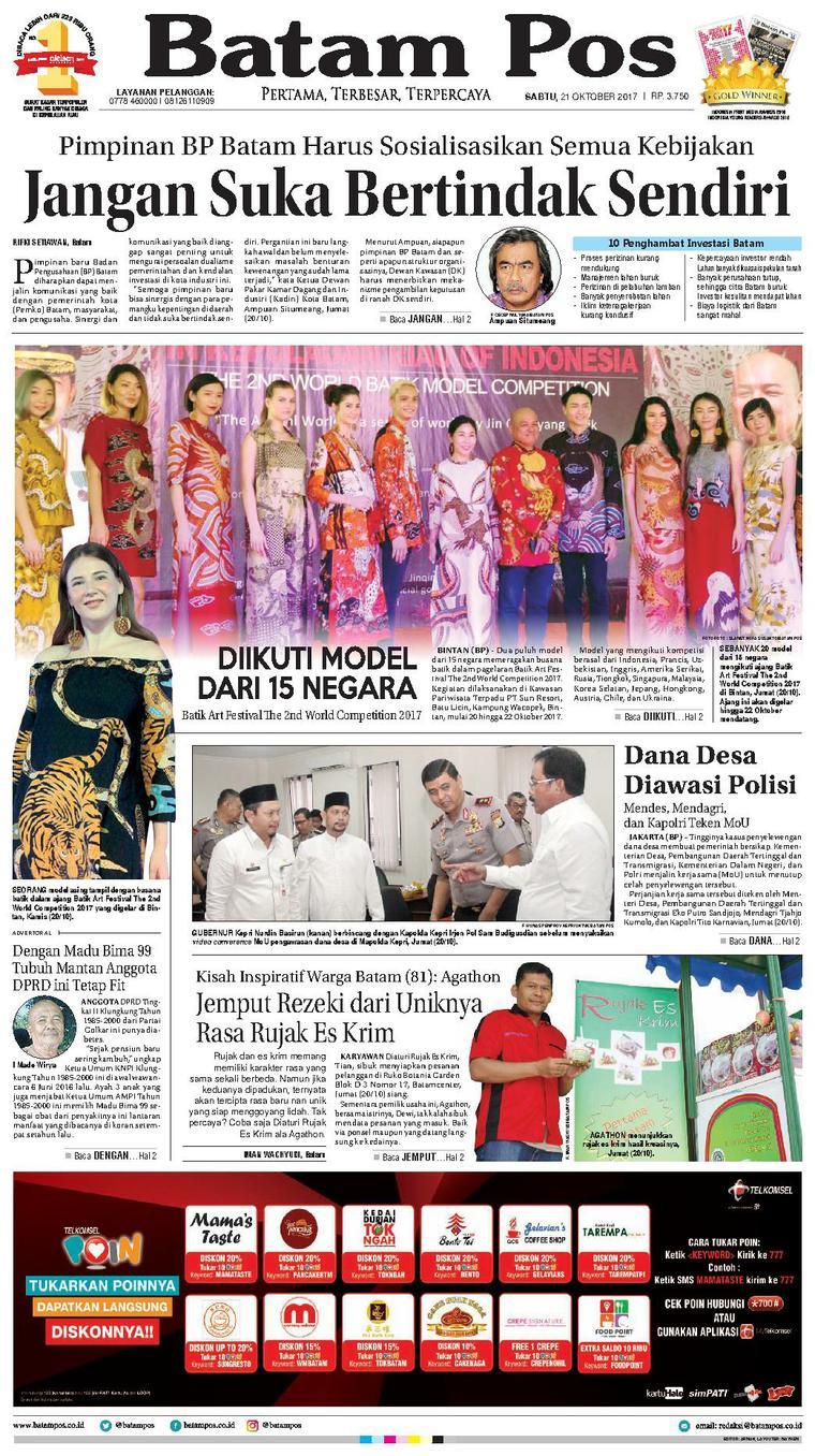Koran Digital Batam Pos 21 Oktober 2017