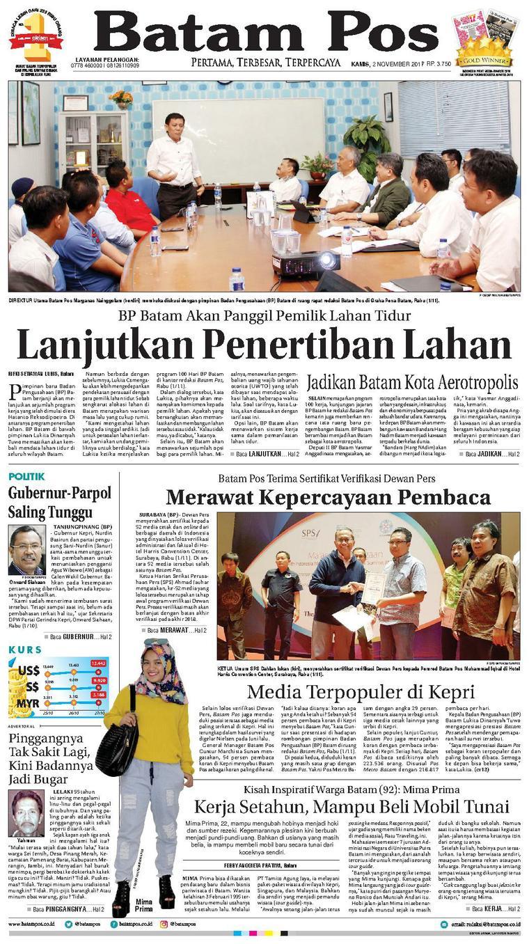 Koran Digital Batam Pos 02 November 2017