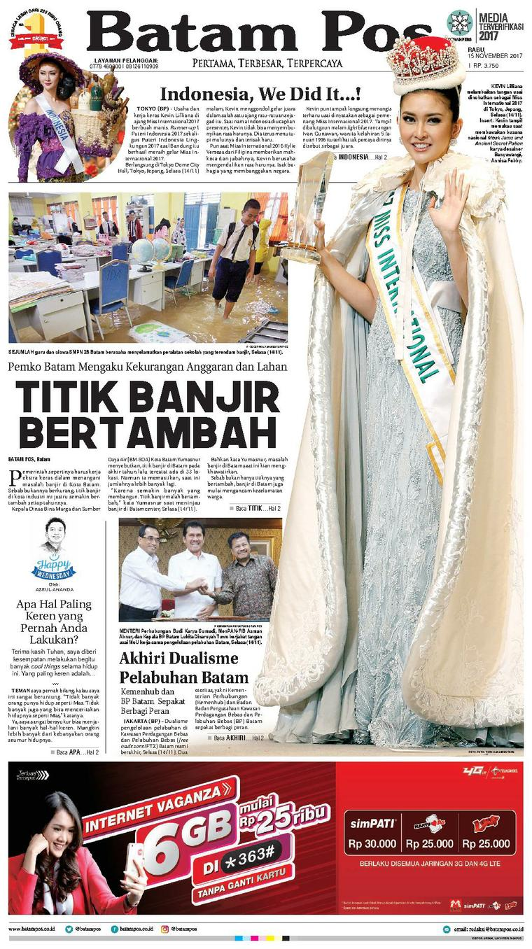 Batam Pos Digital Newspaper 15 November 2017