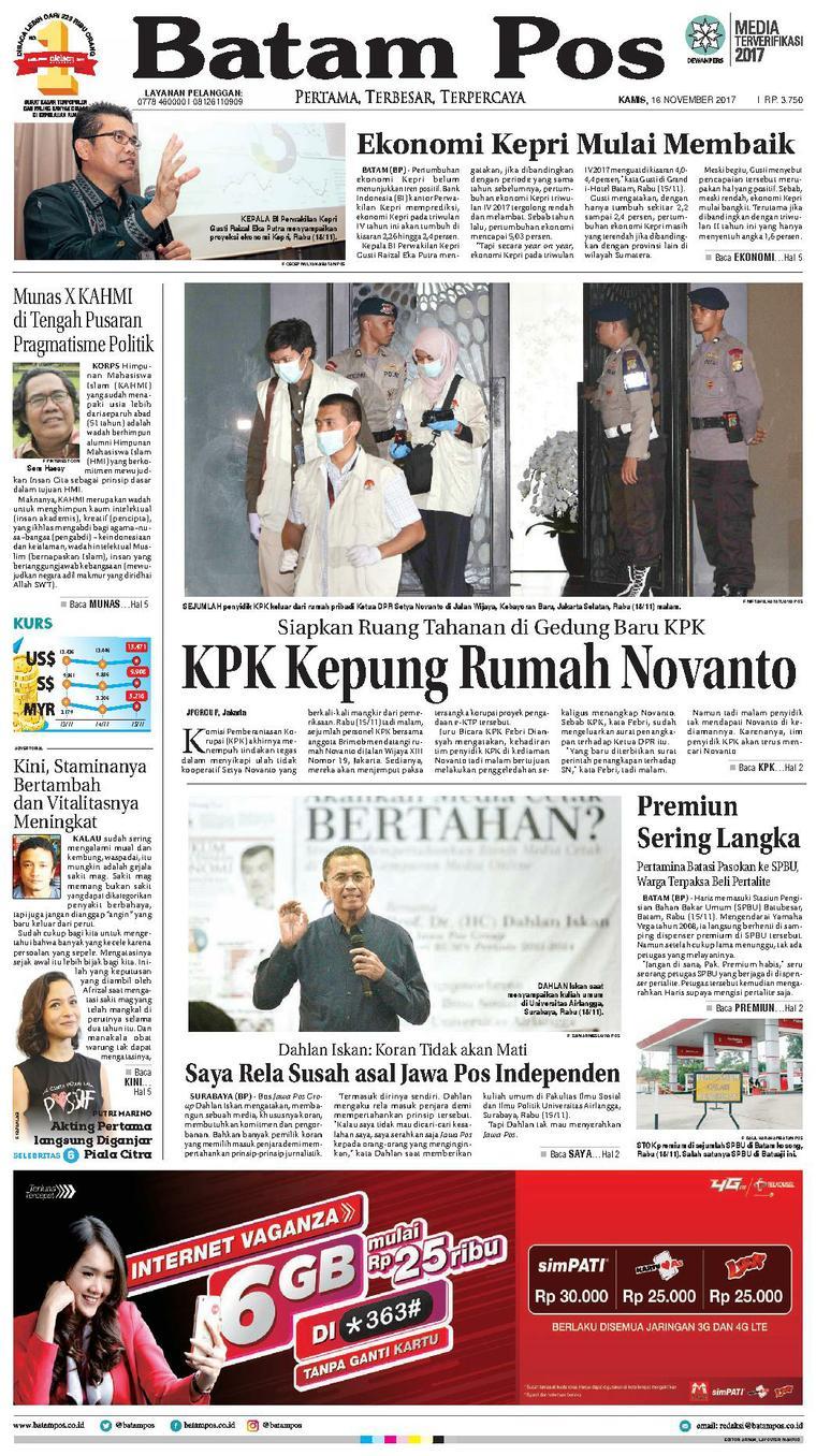 Koran Digital Batam Pos 16 November 2017