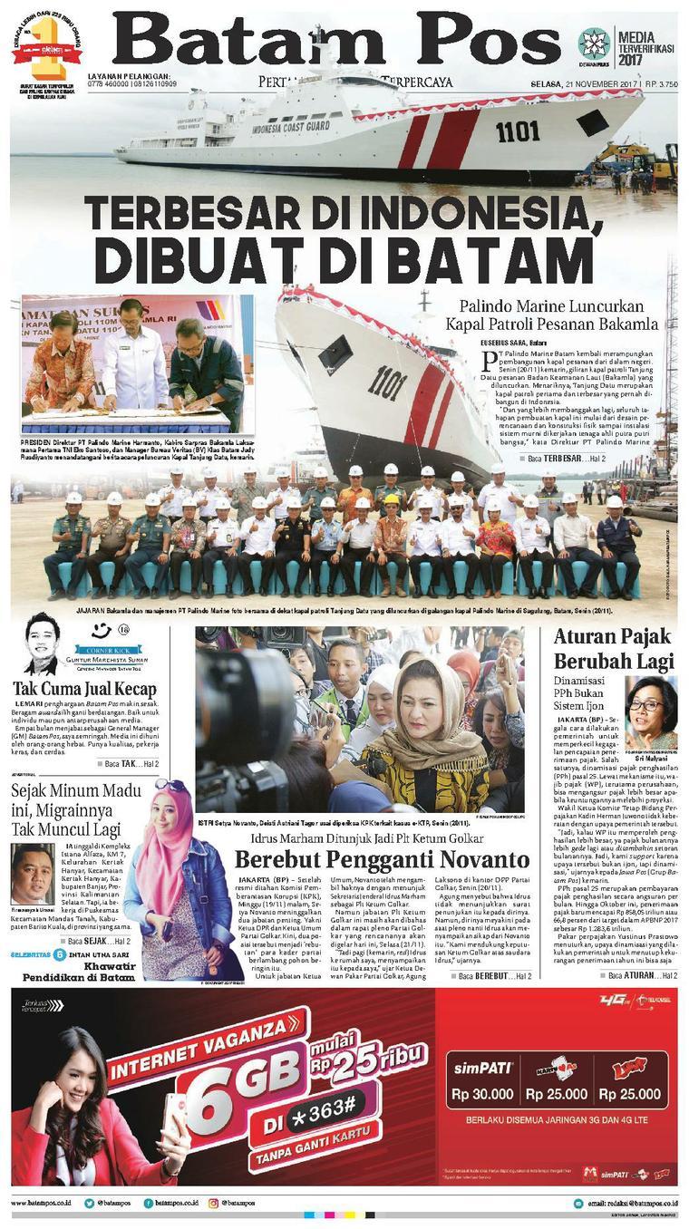 Batam Pos Digital Newspaper 21 November 2017