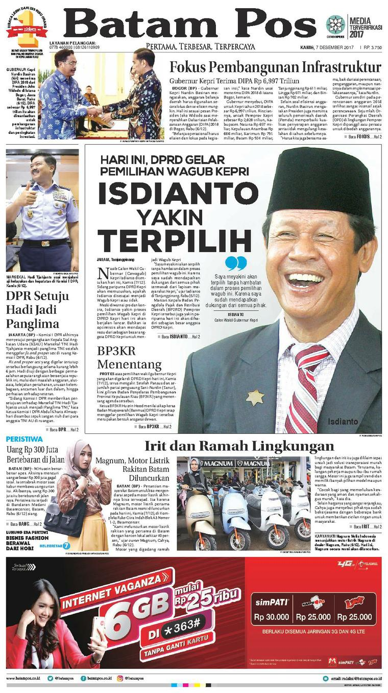Koran Digital Batam Pos 07 Desember 2017