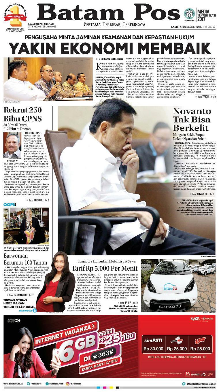 Koran Digital Batam Pos 14 Desember 2017
