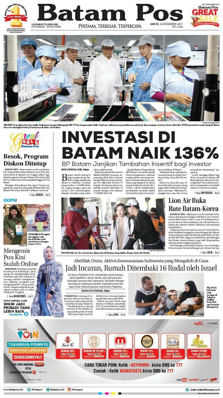 Koran Digital Batam Pos 30 Desember 2017