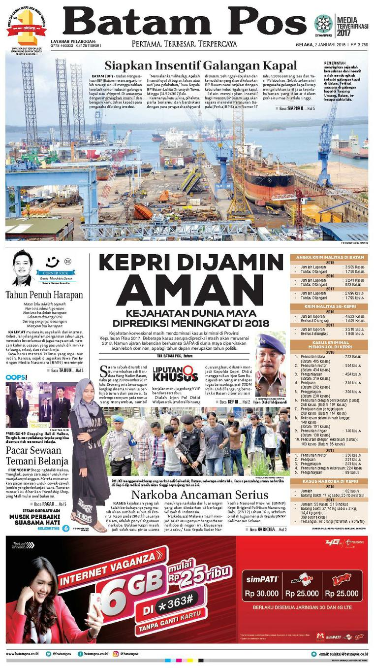 Koran Digital Batam Pos 02 Januari 2018