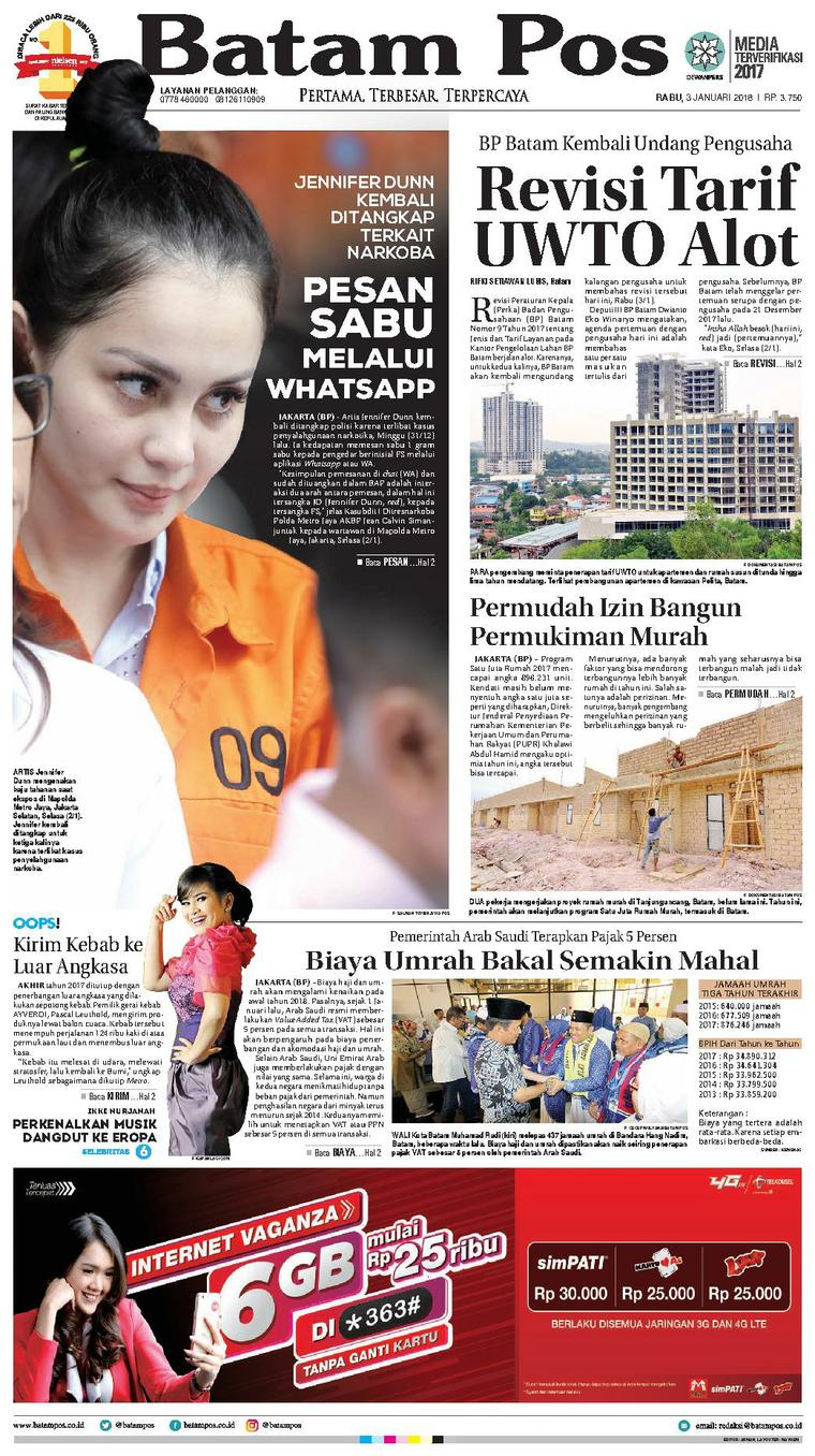 Koran Digital Batam Pos 03 Januari 2018