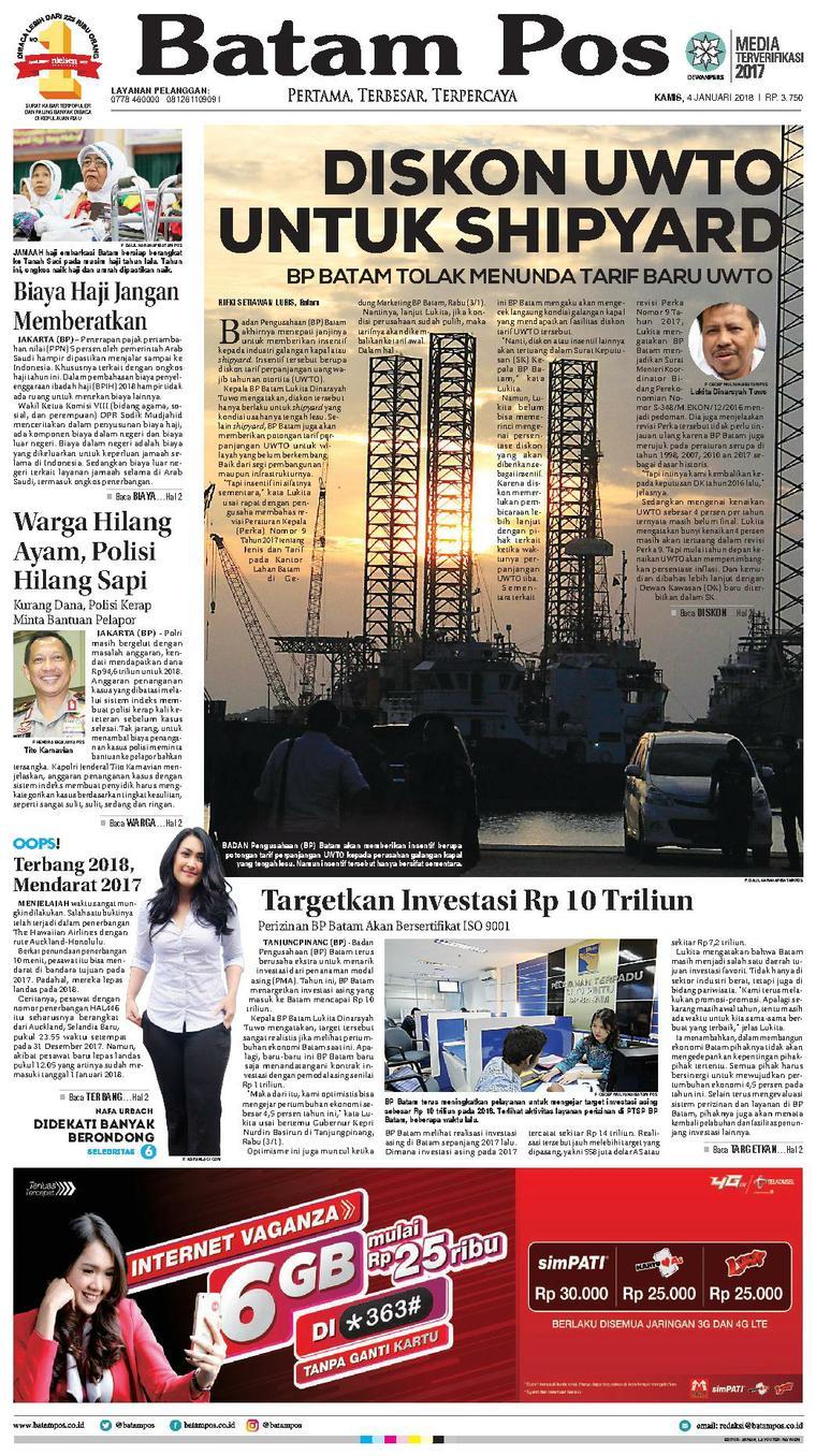 Koran Digital Batam Pos 04 Januari 2018
