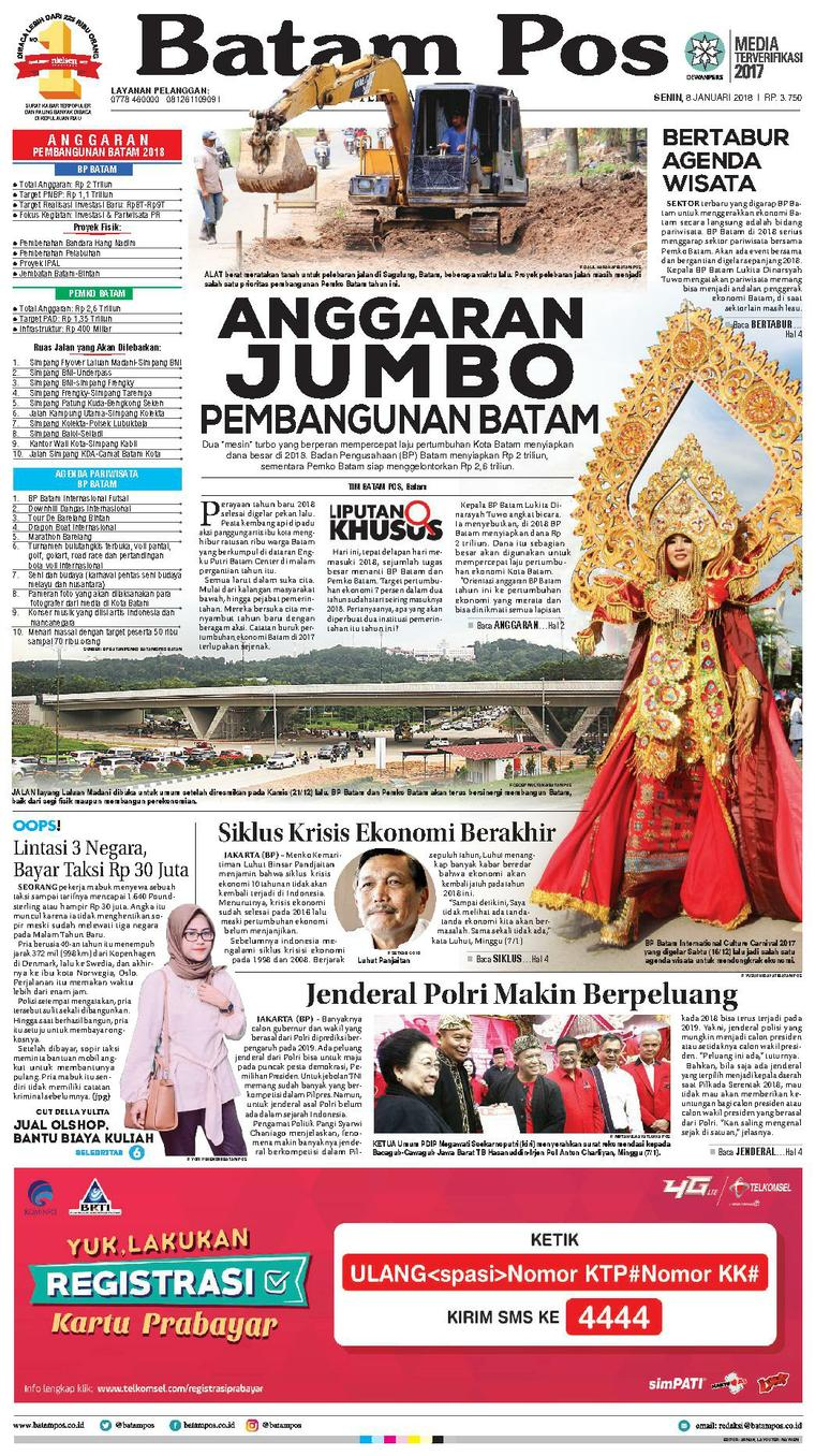 Koran Digital Batam Pos 08 Januari 2018