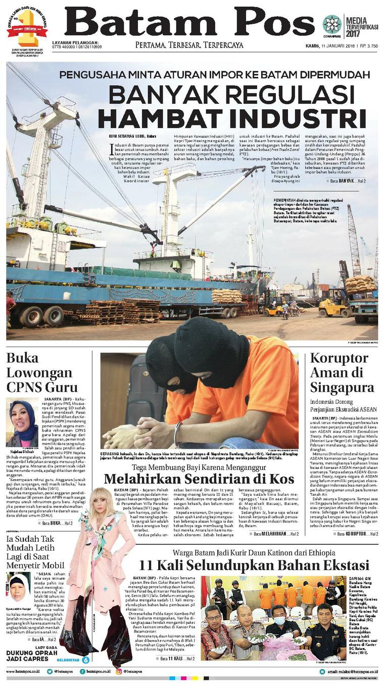 Koran Digital Batam Pos 11 Januari 2018