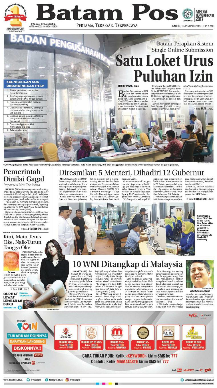Koran Digital Batam Pos 13 Januari 2018