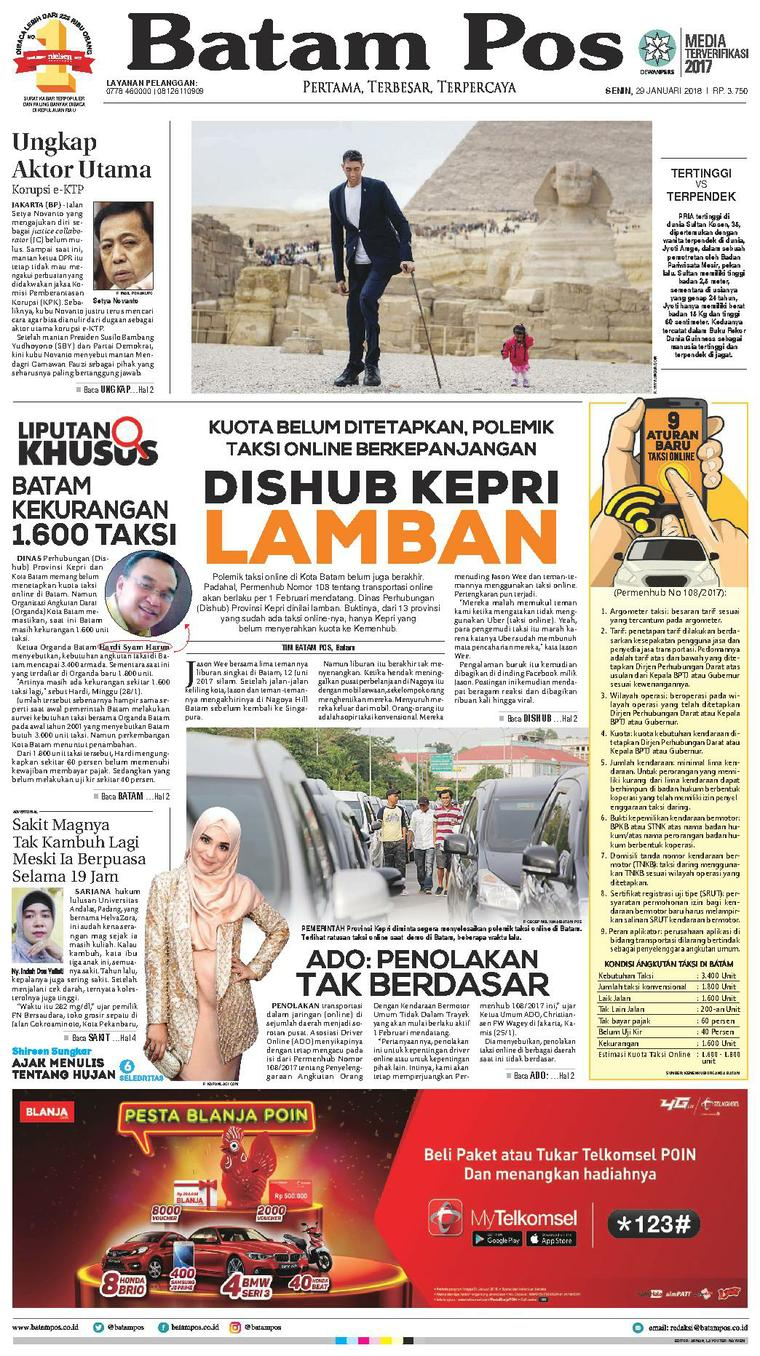 Koran Digital Batam Pos 29 Januari 2018