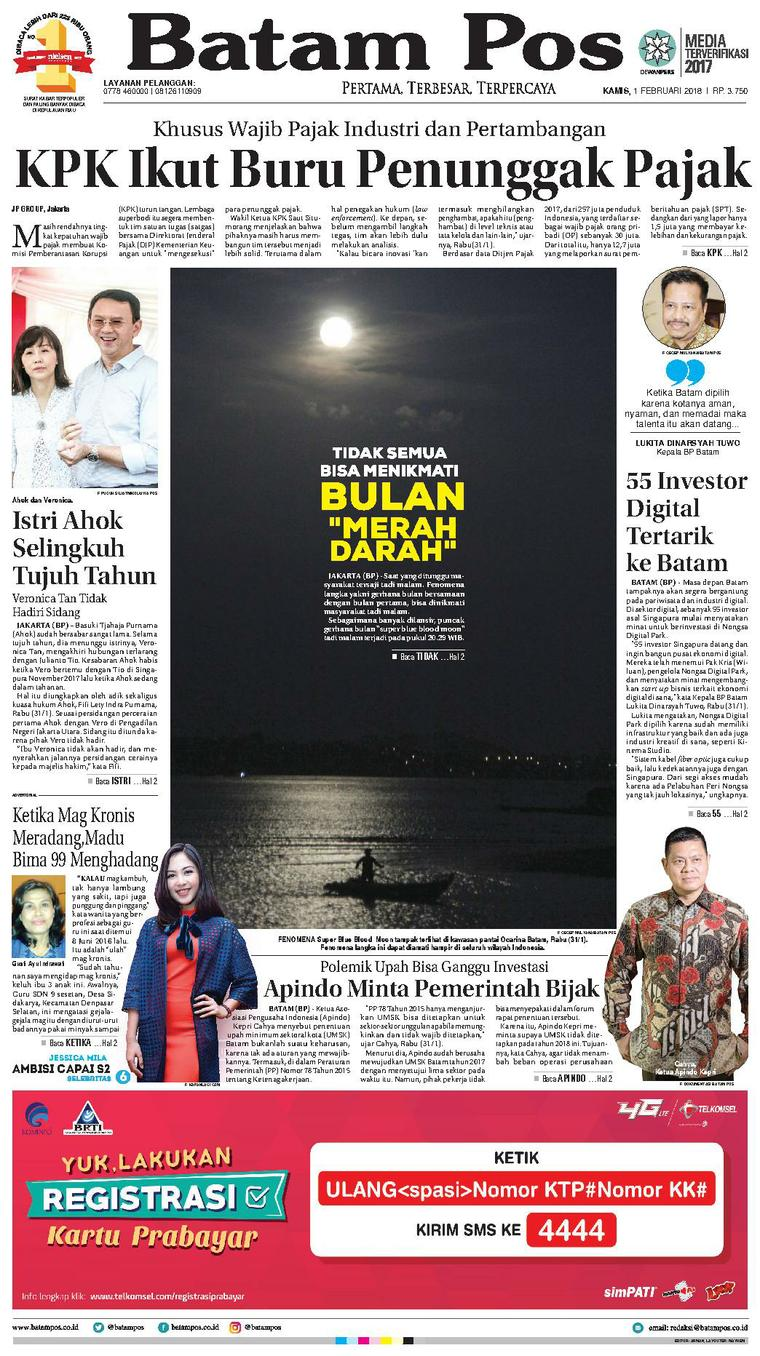 Koran Digital Batam Pos 01 Februari 2018