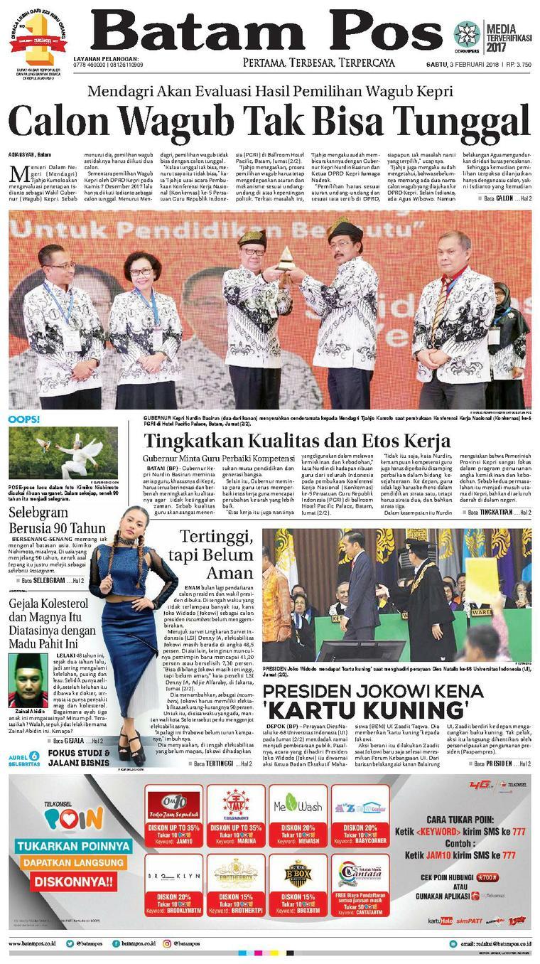 Koran Digital Batam Pos 03 Februari 2018
