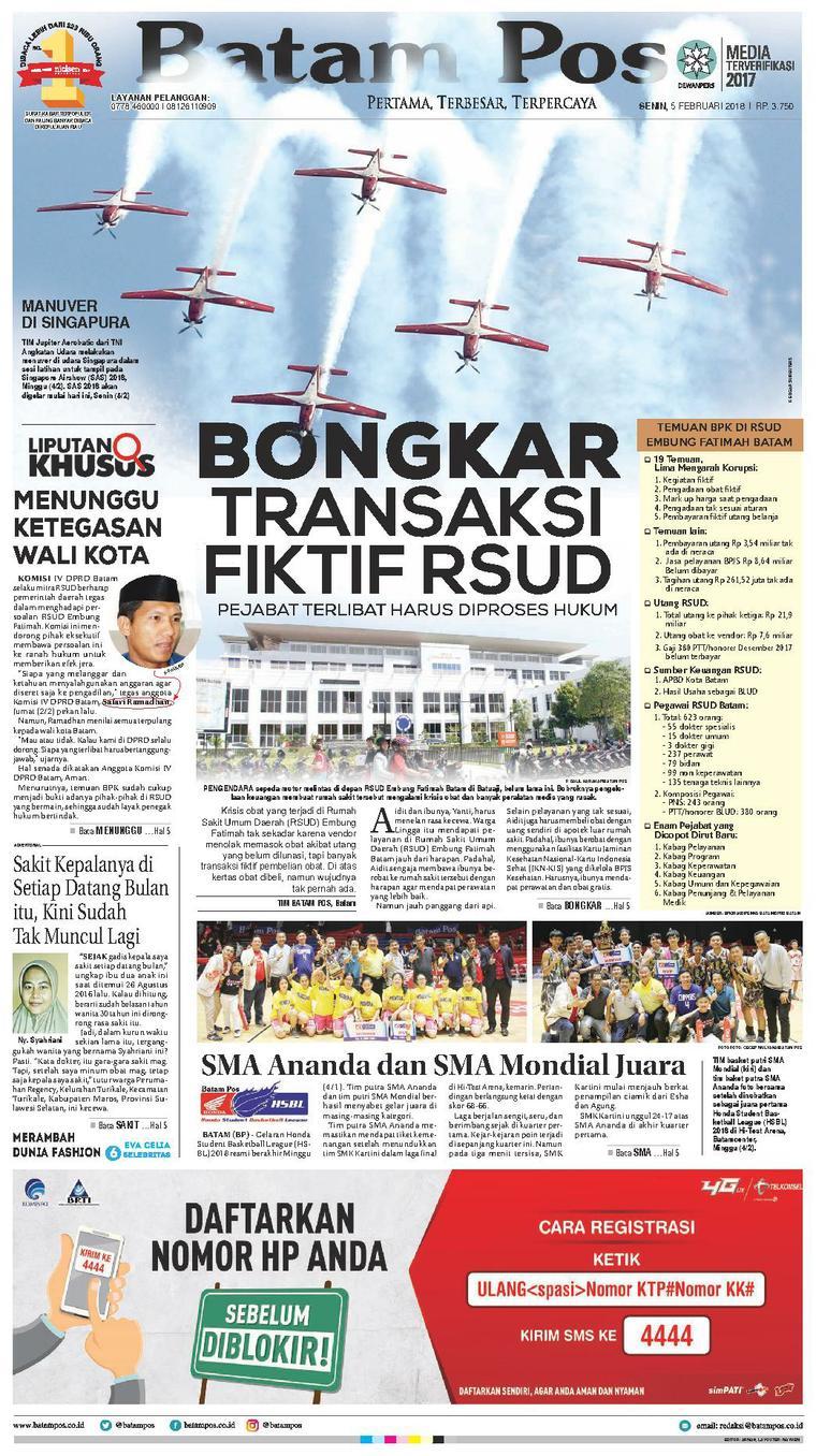 Koran Digital Batam Pos 05 Februari 2018