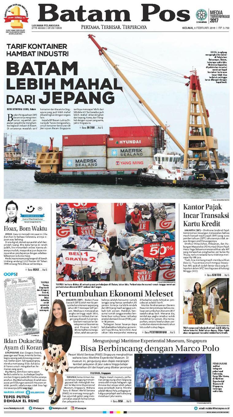 Koran Digital Batam Pos 06 Februari 2018