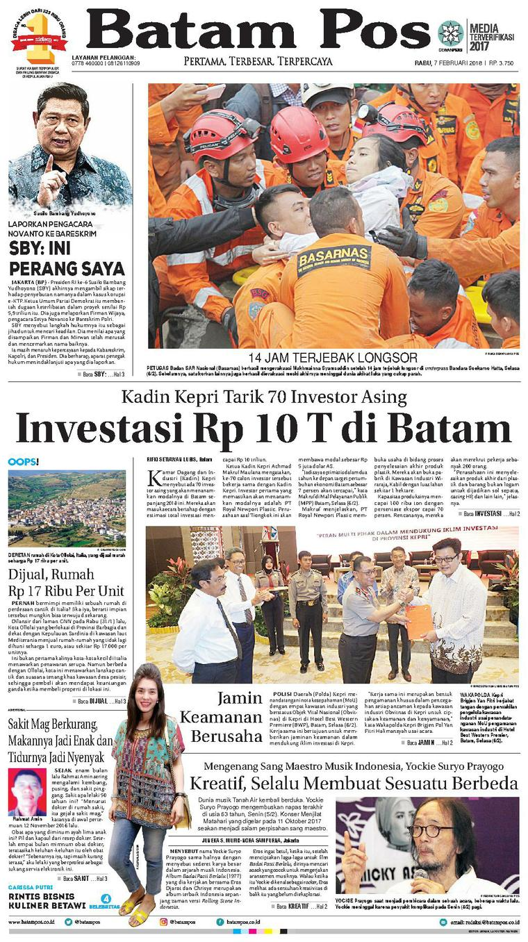 Koran Digital Batam Pos 07 Februari 2018