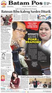 Cover Batam Pos 23 Maret 2018