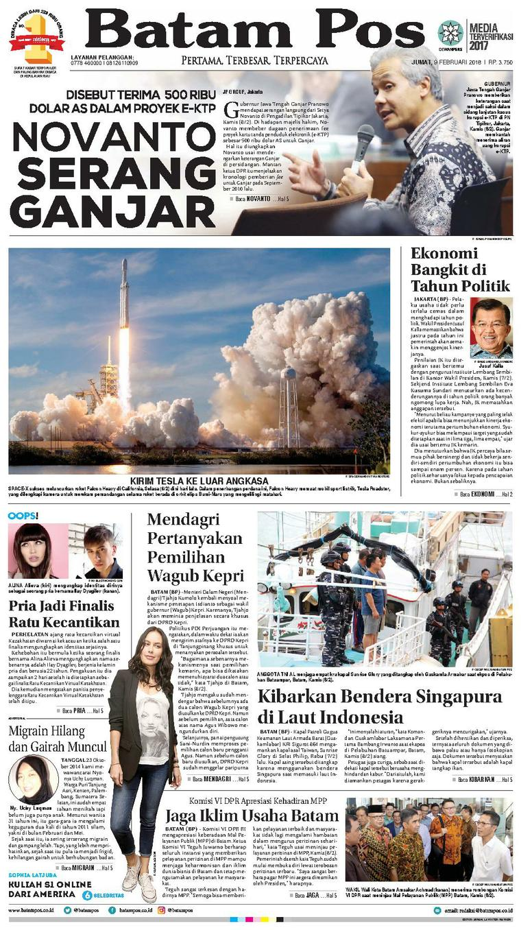 Koran Digital Batam Pos 09 Februari 2018