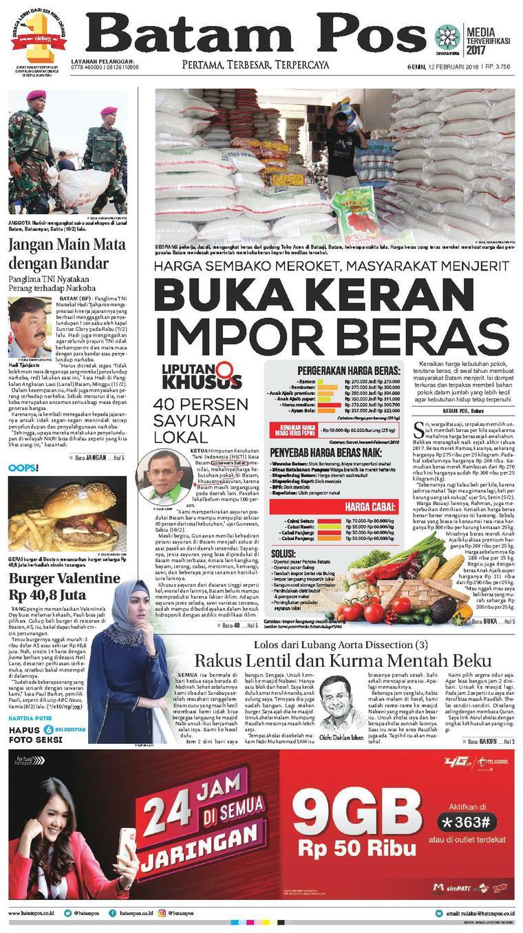Koran Digital Batam Pos 12 Februari 2018