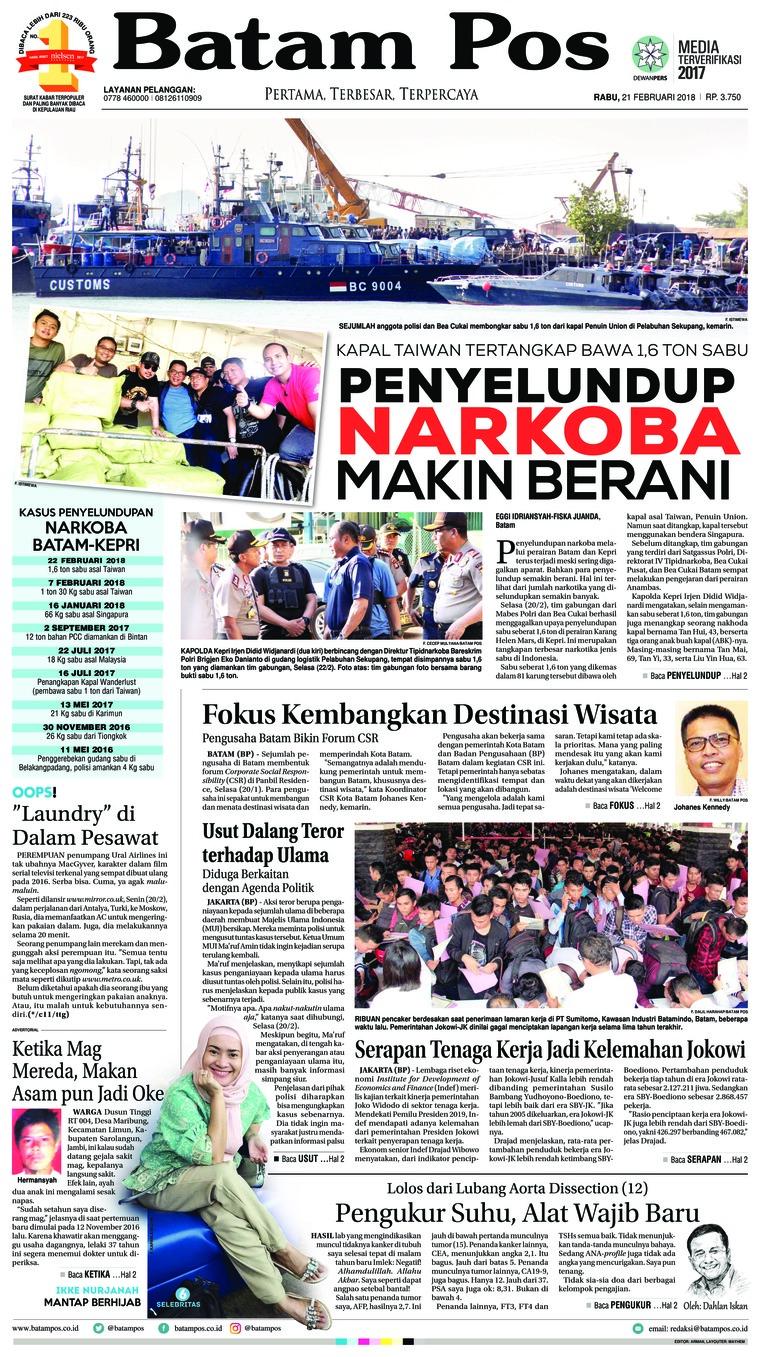 Koran Digital Batam Pos 21 Februari 2018
