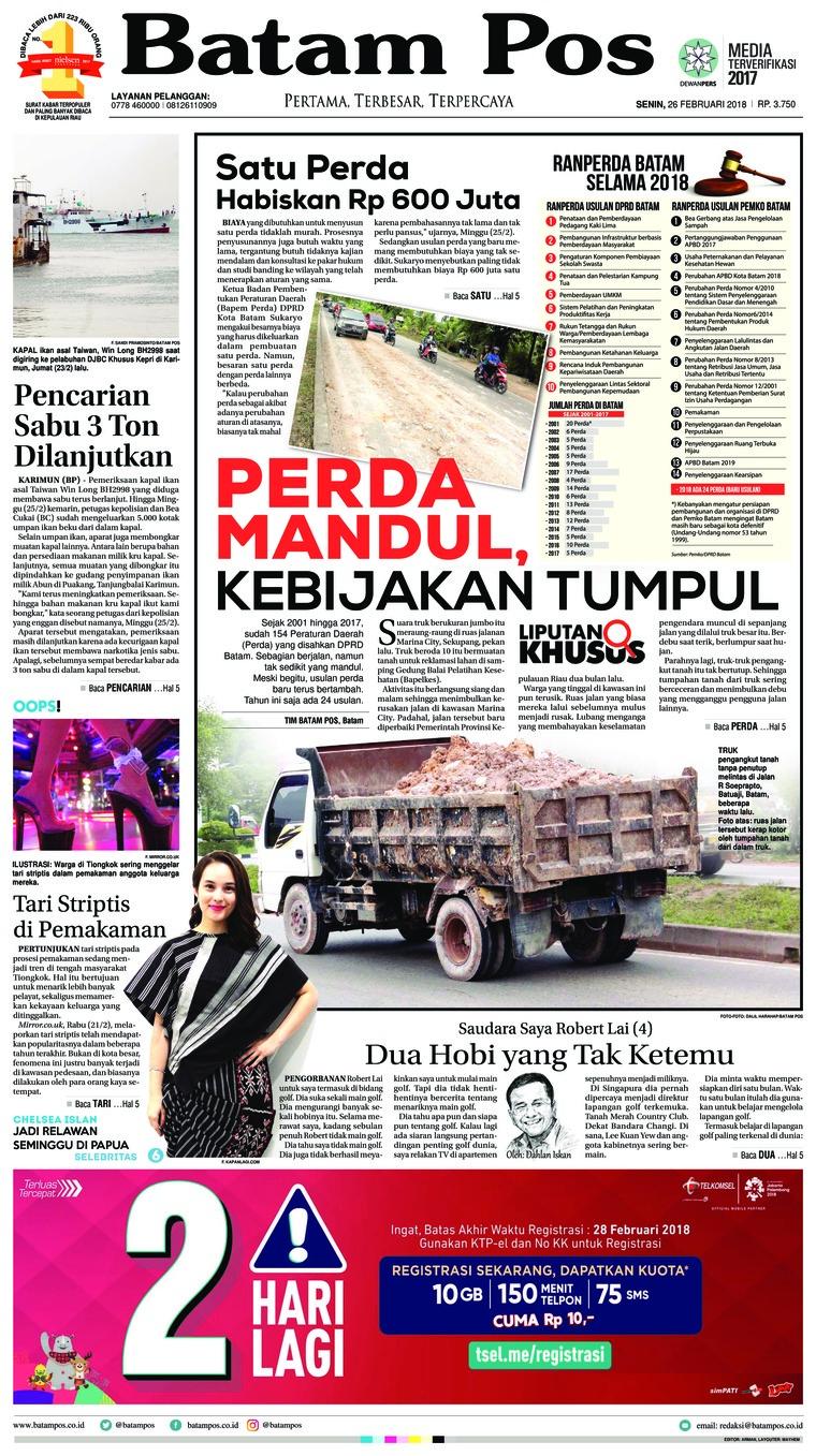 Koran Digital Batam Pos 26 Februari 2018