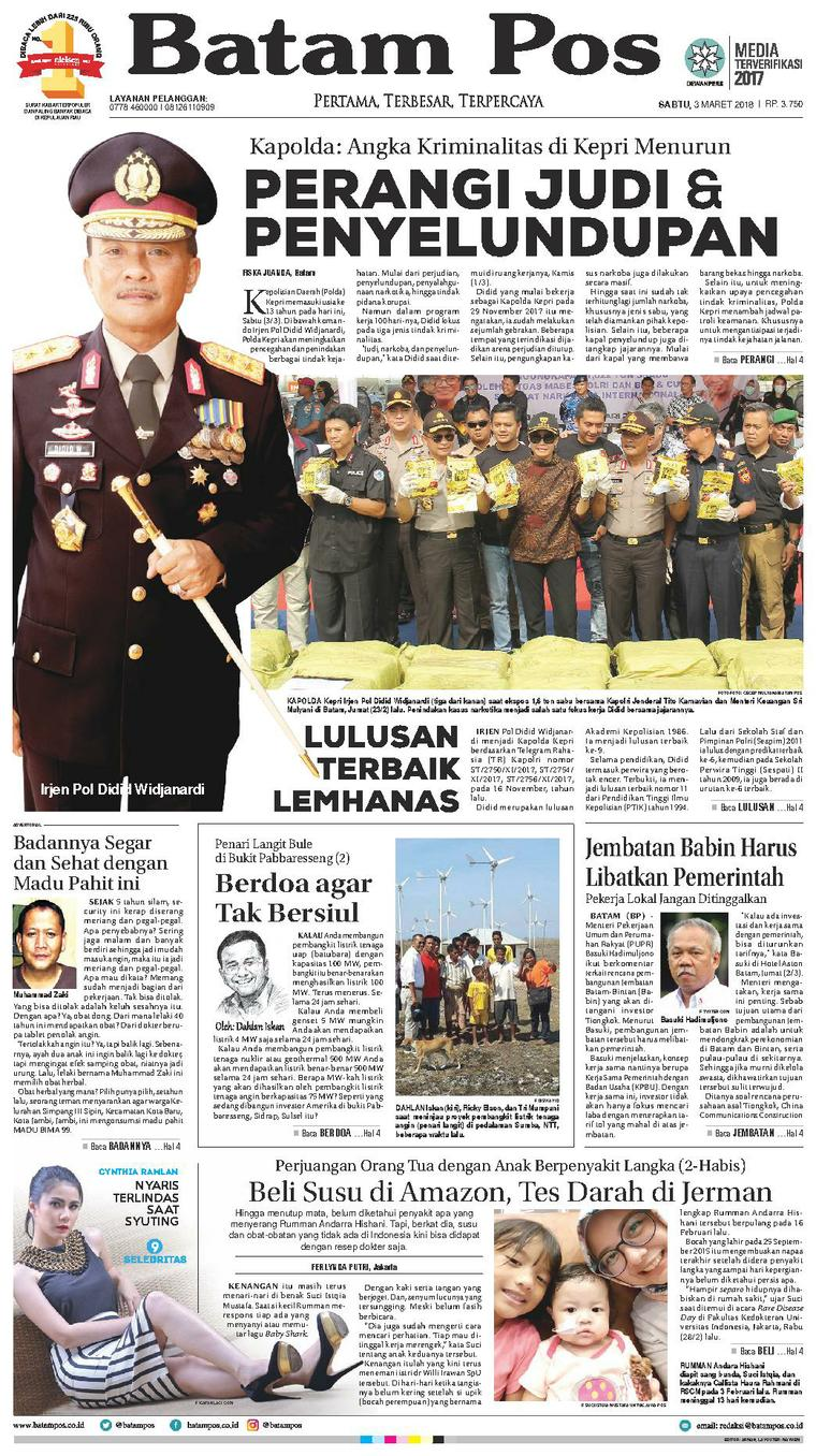 Batam Pos Digital Newspaper 03 March 2018