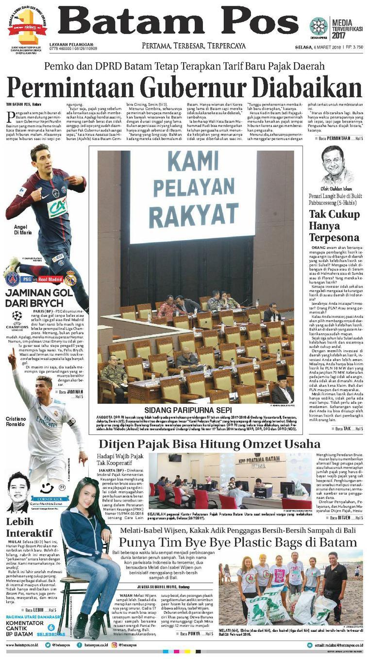 Koran Digital Batam Pos 06 Maret 2018