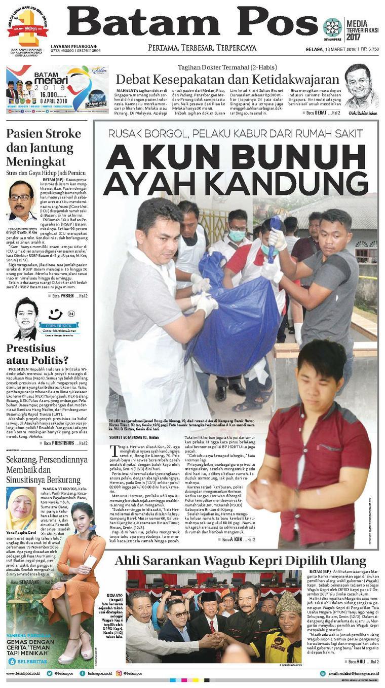 Koran Digital Batam Pos 13 Maret 2018