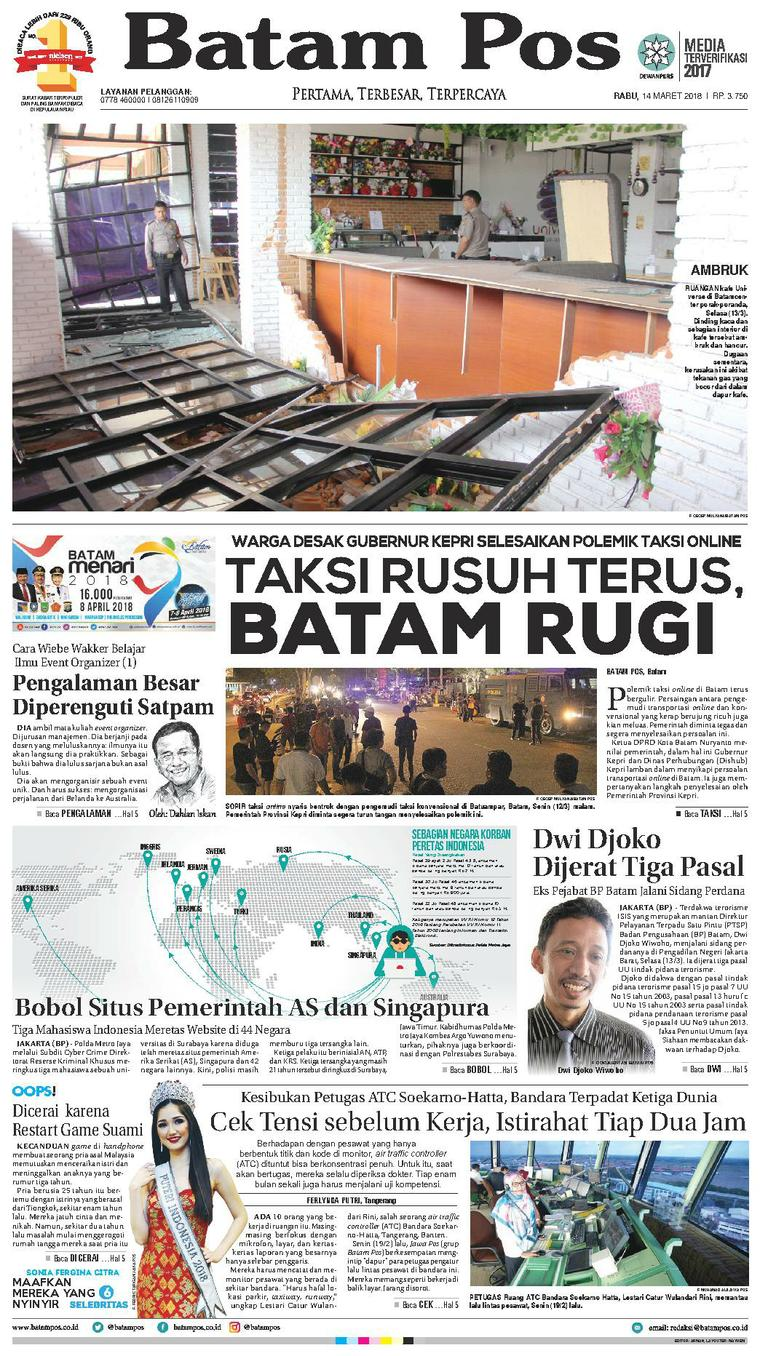 Koran Digital Batam Pos 14 Maret 2018