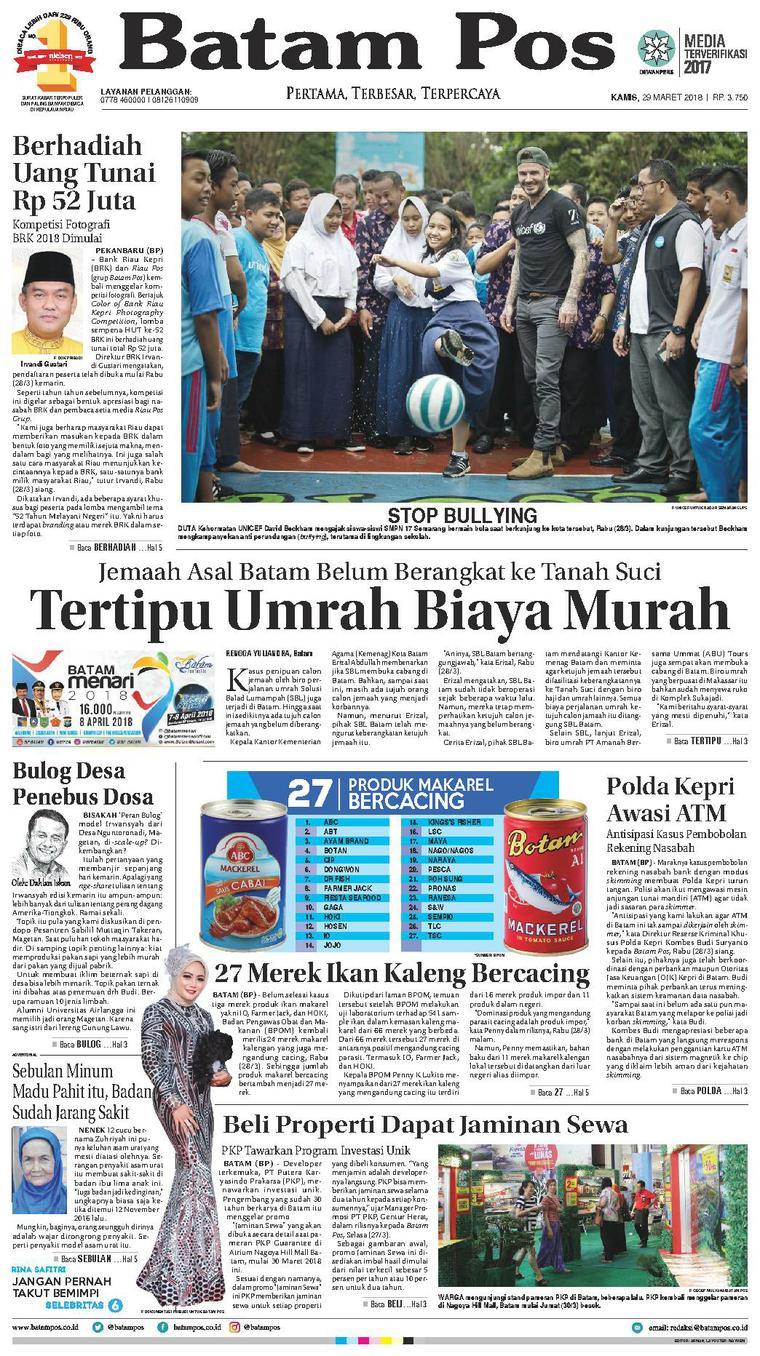 Koran Digital Batam Pos 29 Maret 2018