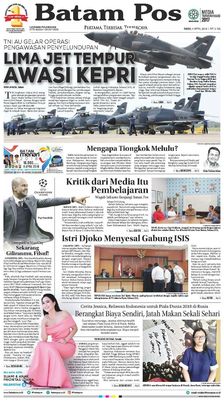 Koran Digital Batam Pos 04 April 2018