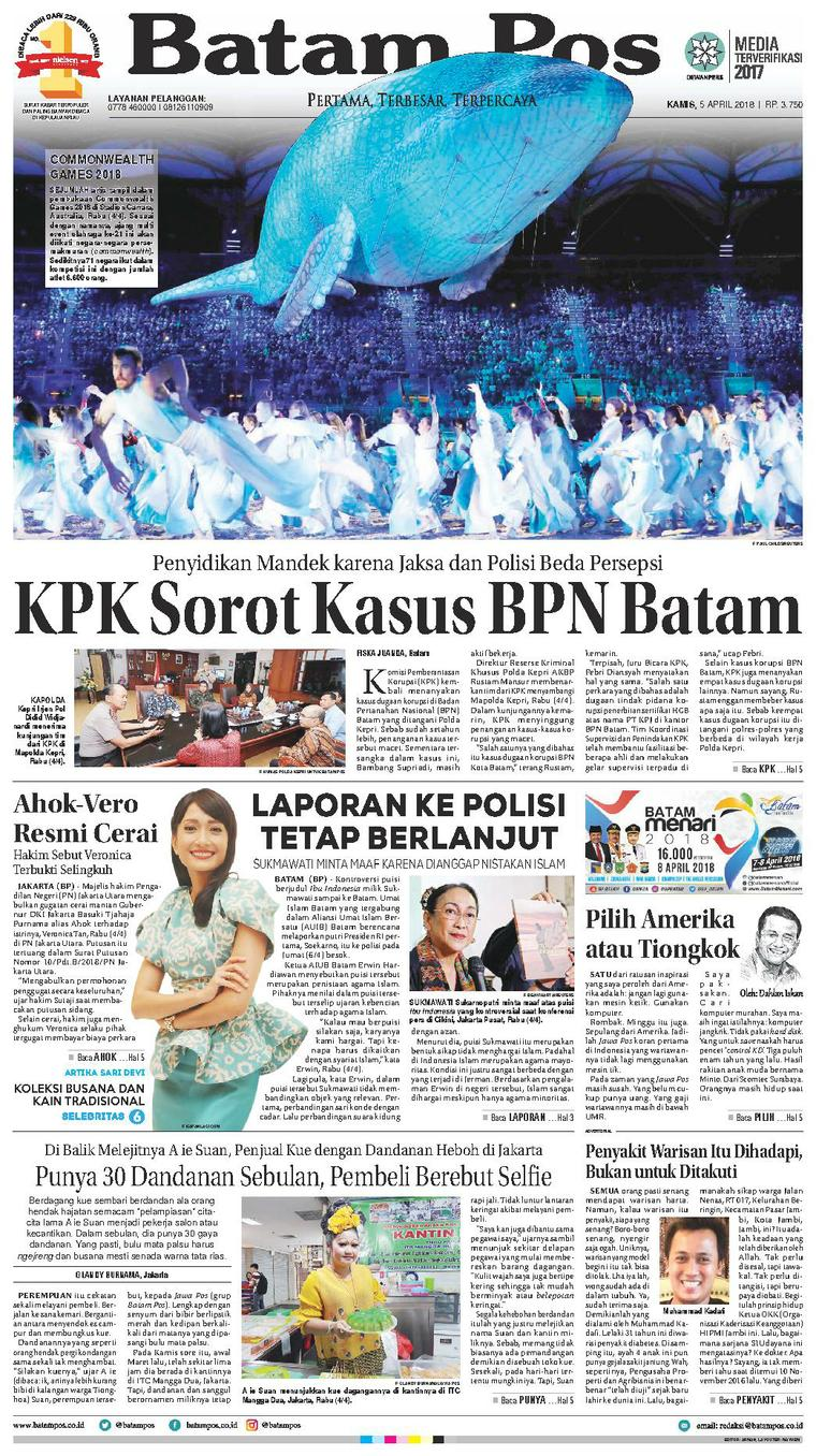 Koran Digital Batam Pos 05 April 2018