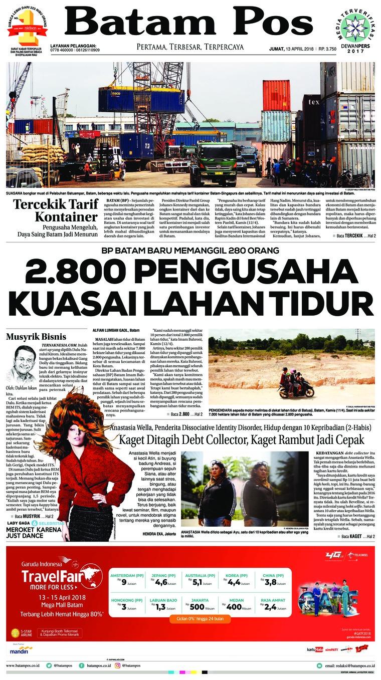 Koran Digital Batam Pos 13 April 2018