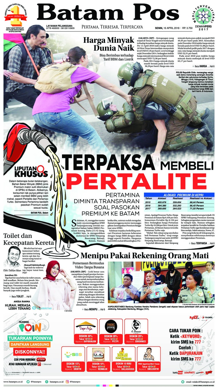 Koran Digital Batam Pos 16 April 2018
