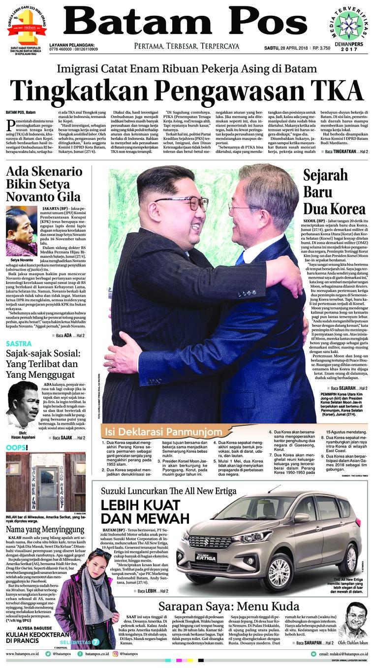 Batam Pos Digital Newspaper 28 April 2018