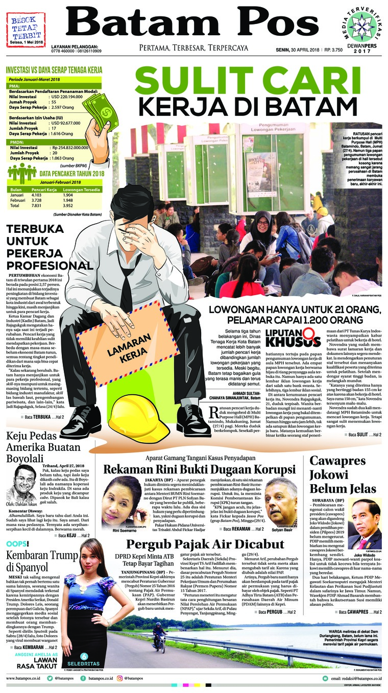 Batam Pos Digital Newspaper 30 April 2018
