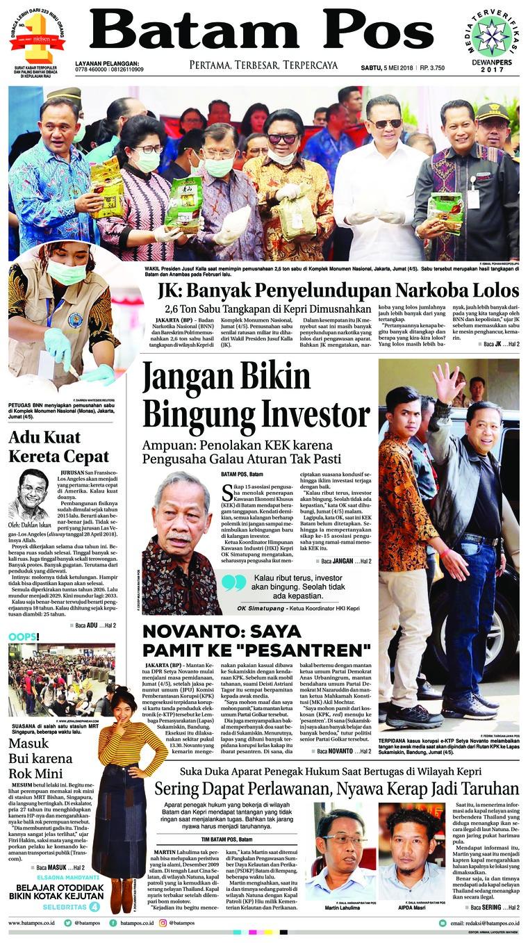 Batam Pos Digital Newspaper 05 May 2018