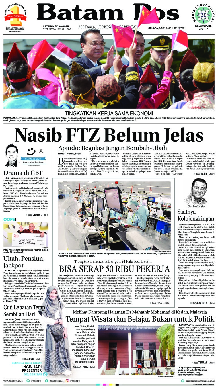 Batam Pos Digital Newspaper 08 May 2018
