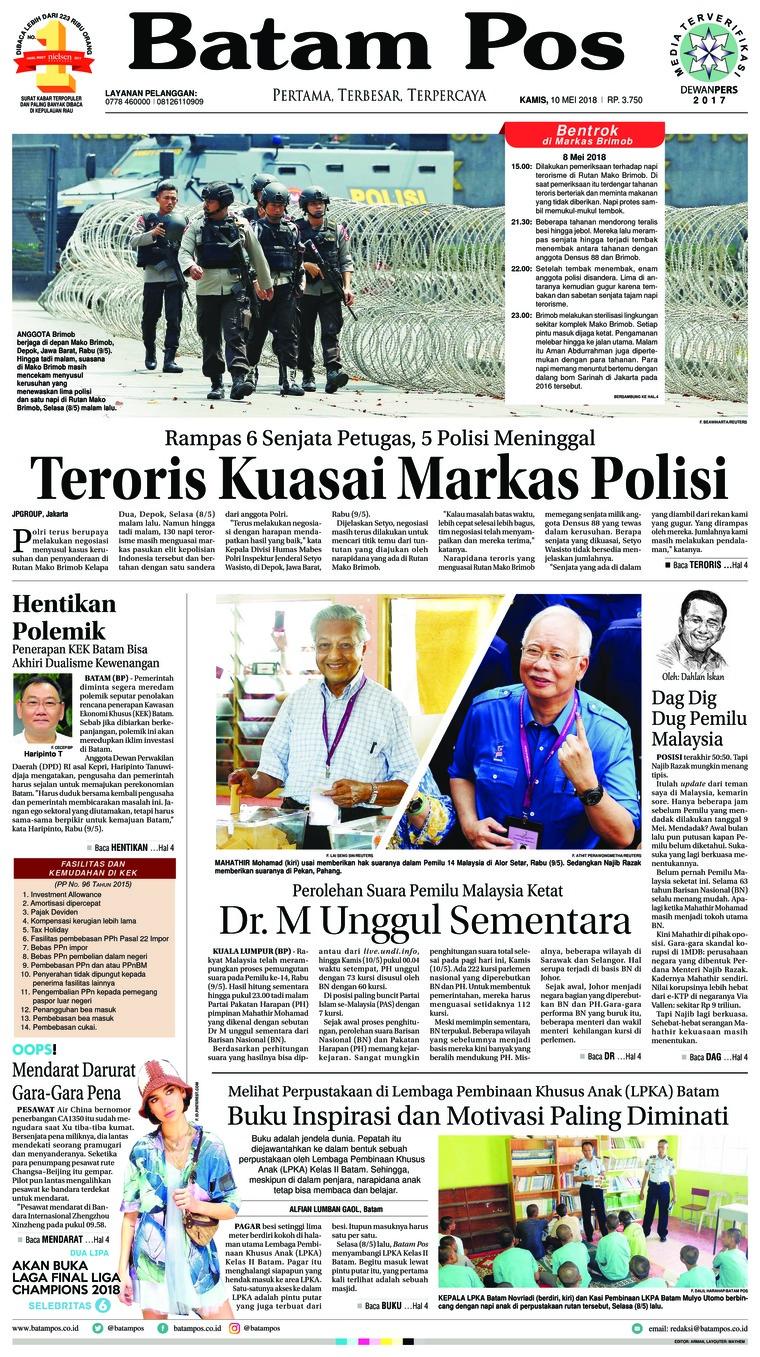 Batam Pos Digital Newspaper 10 May 2018