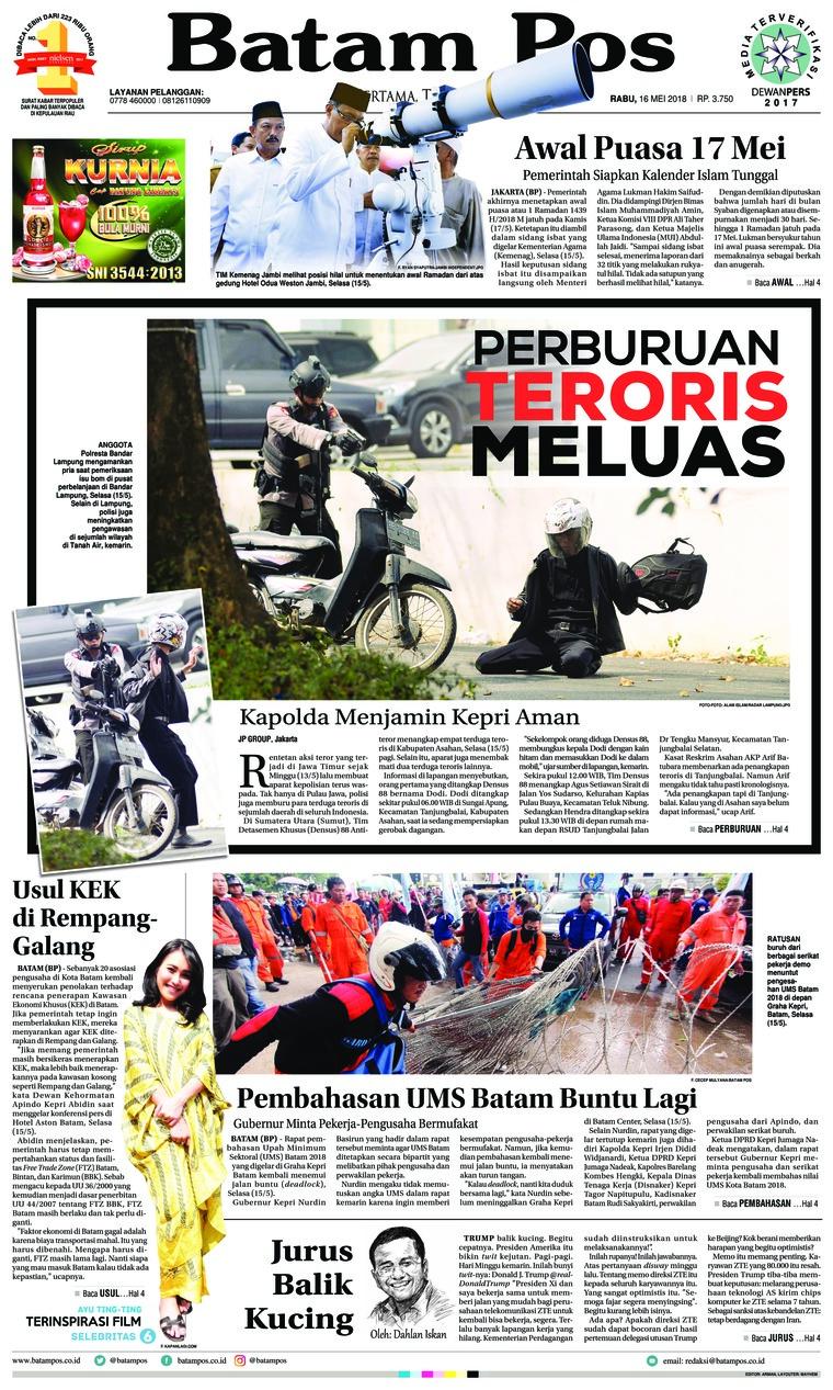 Batam Pos Digital Newspaper 16 May 2018